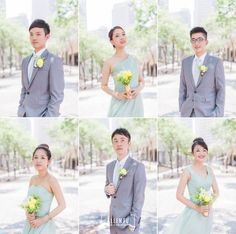 Simply beautiful bridal party look - pastel blue + elegant grey +  a touch of yellow floral highlight!