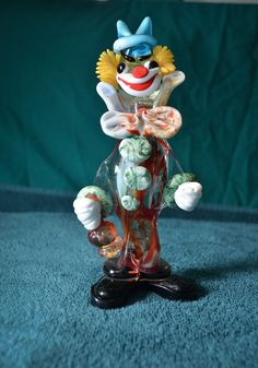 Vintage Murano Carnival Glass Clown with Wine by VintagePonies