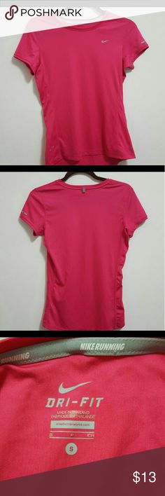 Women's Nike  dri-fit shirt VERY GOOD USED CONDITION. Size small Nike running dri-fit shirt. No flaws seen. Gently used. Nike swoosh is still in perfect condition. Color is pink. Nike Tops