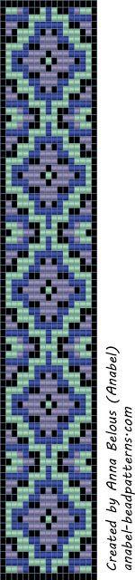 """-Схемы для бисероплетения-: Схема браслета """"Сиренево-мятного"""" - станочное ткачество / гобеленовое плетение"""