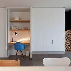 Desk incorporated into kitchen cabinet