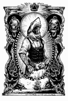 Philip Harris illustration; nautical theme, vintage style, tattoo culture; shark-man...words cannot describe the awesomeness of this