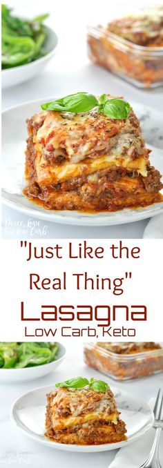 """""""Just Like the Real Thing"""" Low Carb Keto Lasagna - Peace Love and Low Carb via @PeaceLoveLoCarb"""