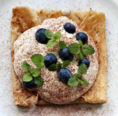 A Crêpe With Kama Mousse And Blueberries.    Kama Is A Roasted Mixture Of Various Finely Ground Grains That Is Usually Mixed With Sour Milk And Sugar - The Quintessential Estonian Food :-) For The Mousse I Just Mixed It With Plain Yoghurt And Some Whipped Cream.