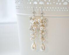 Statement Bridal Earrings, Pearl and Crystal Wedding Earrings, Long Pearl Cluster Earrings