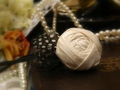 www.MacyDiddle.com  Couture Newborn headband Ivory rolled rose flower by MacyDiddle, $10.00