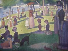 The Art Institute of Chicago-Saturday in the Park with Friends - Painting by Seurat