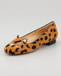 Kitty Cat-Face Calf Hair Slipper  by Charlotte Olympia at Neiman Marcus.  MEOW!!!!!!