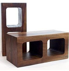 Wood cinder blocks. I would never have thought I would like this but I really do.