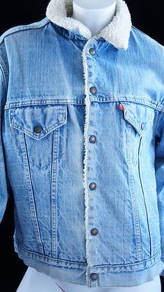 Vintage Distressed Levi's Trucker Jacket Sherpa 70's to mid 80's Size 42