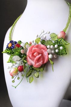 "Lampwork Necklace | Лэмпворк колье ""Букет роз"""