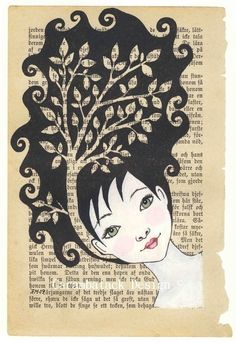 Tree girl print