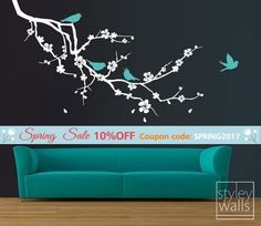 Cherry Blossom Branch and Birds Wall Decal Cherry Blossom by styleywalls | Etsy