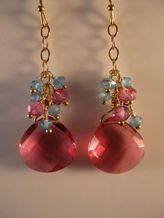 Gold Gemstone Cluster Earrings gemstone earrings by jjewelsatl, $42.50