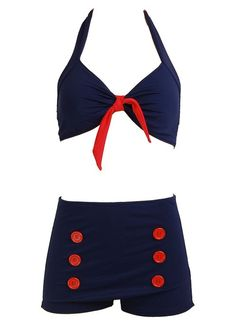 Navy Blue Retro Pin up Rockabilly Sailor Nautical Women's Bathing Suit Swimsuit Swimwear Bikini - Large