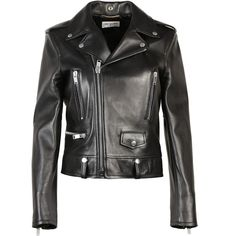 Saint Laurent Leather Jackets (4,030 BAM) ❤ liked on Polyvore featuring outerwear, jackets, black, biker jacket, leather rider jacket, motorcycle jacket, studded jacket and rider jacket