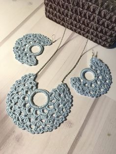 """Crochet """"BLUE MOON"""" openwork set, crochet earrings set, crochet necklace set, awesome elegant gift See other ideas and pictures from the category menu…. Faneks healthy and active life ideas Crochet Necklace Pattern, Crochet Jewelry Patterns, Crochet Motifs, Crochet Accessories, Crochet Designs, Crochet Collar Pattern, Gifts For Girls, Gifts For Friends, Friends Girls"""