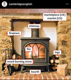 Cambridge English, Different Words, Wood Burning, Hearth, Home Furniture, Fire, House, Instagram, Check