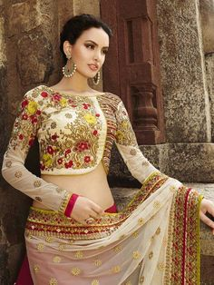 Red with Cream Color Heavy Embroidered Designer Saree