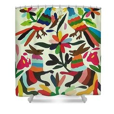 Otomi Embroidery Art Print. Shower Curtain featuring the photograph Otomi Embroidery by Linda Rahn