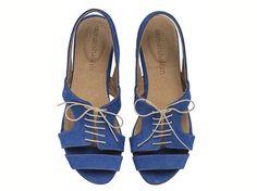 Shirley Royal Blue Sandals Flat Leather Sandals by TamarShalem on etsy