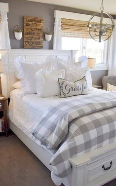 60 Best Farmhouse Bedroom Furniture Design Ideas And Decor - For the home - Bedroom Farmhouse Bedroom Furniture, Farmhouse Master Bedroom, Bedroom Furniture Design, Master Bedroom Design, Home Decor Bedroom, Modern Furniture, Bedroom Designs, Cheap Furniture, Bedroom Décor