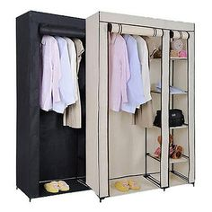 Double #canvas wardrobe rail clothes #storage cubpboard black and #cream sturdy,  View more on the LINK: 	http://www.zeppy.io/product/gb/2/361374573789/