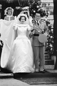 The Wedding of Queen Fabiola of Belgium and Baudouin,  December 15, 1960. The dress is made of satin and mink.
