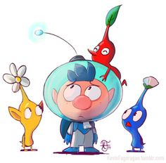 Alph, Blue Pikmin, Yellow Pikmin and Red Pikmin.