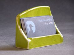 Ceramic Business Card Holder Bamboo Bright Green. $15.00, via Etsy.