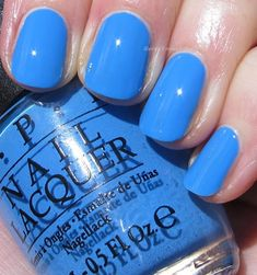 Bright summer pedicure blue nails 49 Ideas for 2019 Opi Blue Nail Polish, Opi Nail Colors, Toe Nail Color, Pedicure Colors, Opi Nails, Manicure And Pedicure, Manicures, Nail Polishes, Mani Pedi