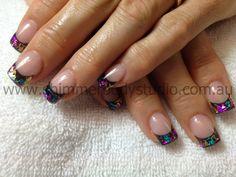 Gel nails, Foil Nail Art, Colourful nails.