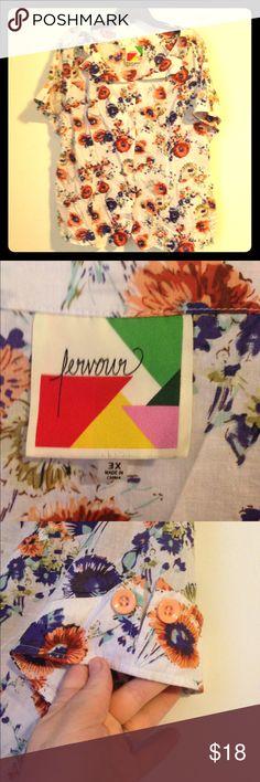 Retro floral button down Never worn button down unique color super cute Modcloth Tops Button Down Shirts