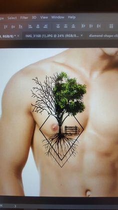 Ideas for geometric tree tattoo color Nature Tattoos, Body Art Tattoos, Sleeve Tattoos, Tree Tattoos, Tattoo Life, Geometric Trees, Geometric Tattoo Color, Geniale Tattoos, Chest Tattoo