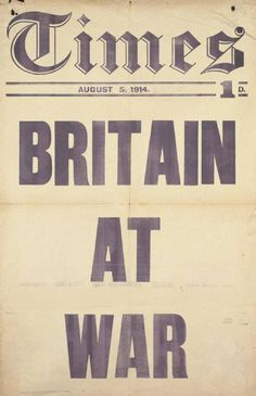 The Times newspaper headline, ‪On This Day in‬ 1914 - 'Britain at War' (© IWM PST 13006,