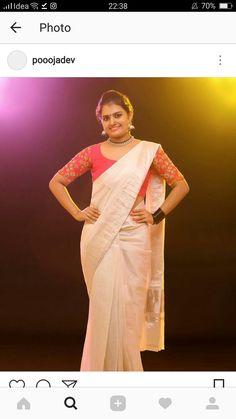 Bridal Silk Saree, Silk Sarees, Set Saree Kerala, Kerala Traditional Saree, White Saree Blouse, Kerala Saree Blouse Designs, Kasavu Saree, Kerala Bride, Half Saree