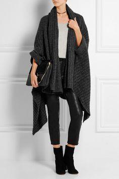Charcoal ribbed-knit Slips on 34% mohair, 34% wool, 27% nylon, 5% elastane Hand wash