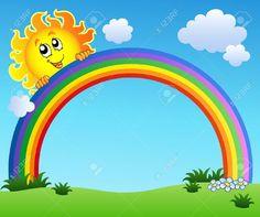 sun holding rainbow on blue sky - vector illustration. Drawing For Kids, Art For Kids, Ciel Art, Deco Stickers, Rainbow Images, School Murals, Rainbow Background, School Decorations, Classroom Decor