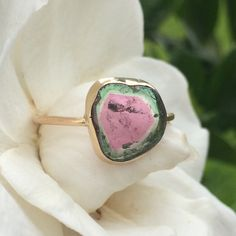 High Quality Watermelon Tourmaline 14K gold Ring. love the pastel candy color of this piece