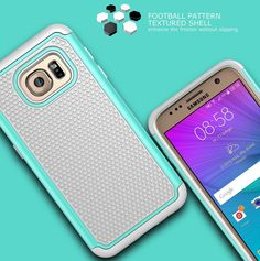 Amazon.com: Galaxy S7 Case, ULAK Shock Absorbing Hybrid Slim Dual Layer Tough Protective Case Cover with Soft Silicone and Hard PC for Samsung Galaxy S7 (Mint+Grey): Cell Phones & Accessories