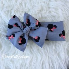 A personal favorite from my Etsy shop https://www.etsy.com/listing/471295583/grey-minnie-mouse-bow-headband-headwrap