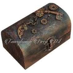 Handmade decorated jewellery box, Steampunk jewellery box, Mixed media jewellery box, Transylvania gift, made in Romania