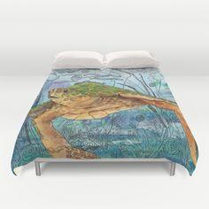 Shelley Blue Duvet Cover #dorm #turtle #surf