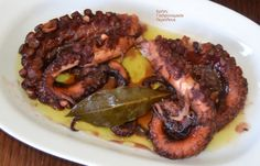 cretangastronomy.gr - Χταπόδι ξιδάτο Greek Dishes, Greek Recipes, Octopus, Seafood, Steak, Brunch, Pork, Food And Drink, Fish