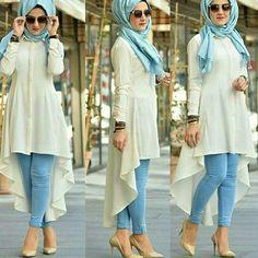 Hijab spring 2018 Just Trendy Girls İslami Erkek Modası 2020 Islamic Fashion, Muslim Fashion, Modest Fashion, Fashion Outfits, Stylish Hijab, Stylish Dresses, Casual Hijab Outfit, Fancy Dress Design, Stylish Dress Designs