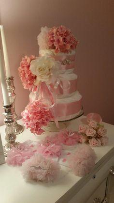 Girls Diaper Cake Shabby Pink Hydrangeas Rose by ItsUpInTheAttic