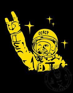 Принт на футболку под термопленку с Юрием Гагариным