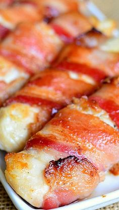 Bacon Wrapped Chicken Strips Recipe ~ They are finger-licking-good and easy family dinner.  Juicy chicken tenders glazed with a combination of maple syrup and Dijon mustard and wrapped in thick applew
