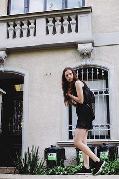 POKOJÍK / Black dress with a frontal pocket by Pavel Jevula, backpack by Alex Monhart Editorial, Traveling, Backpacks, Pocket, Collection, Black, Dresses, Vestidos, Black People