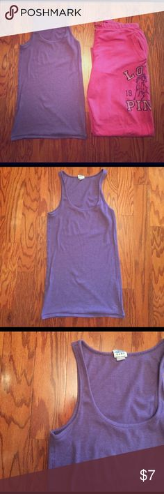 PINK VS Ribbed Tank Top PINK VS Ribbed Tank Top, size large. Pre-loved condition, no rips or stains, some piling. PINK Victoria's Secret Tops Tank Tops